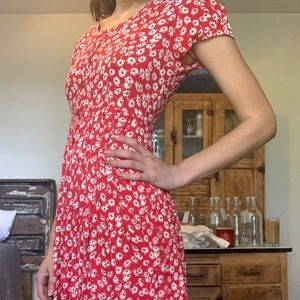 Vintage 90's Floral Red Dress